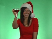 Sexy Brunette Offers a Christmas Toast Stock Footage