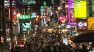 Stock Video Footage of Taiwan busy street at night