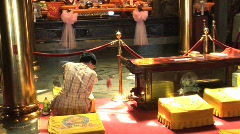 Woman getting a fortune in temple in Taiwan Stock Footage