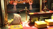 Stock Video Footage of woman getting a fortune in temple in Taiwan