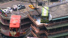 Taiwan cable cars pass one another Stock Footage