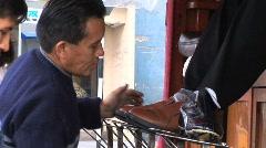Peru shoeshiners   Stock Footage