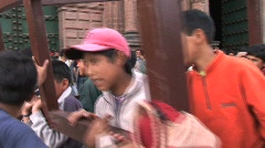 Peru boys in wood frame Stock Footage