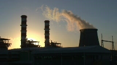 Power plant  at sunset Stock Footage