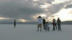 Photographers and model salt flats Utah HD Stock Footage