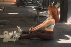 Back exercise on cable machine Stock Footage