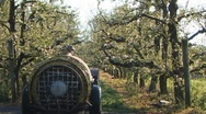 Orchard sprayer from rear Stock Footage