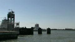Ferry Boat leaving Port Aransas M HD Stock Footage