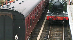 Steam train leaving the station - stock footage