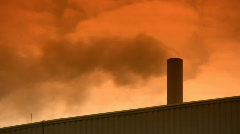 Smoke Pollution Comes Out Of A Small Factory Chimney  Stock Footage