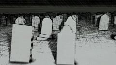 Sketch graveyard with AE project to put text on tombstones Stock Footage