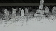 Stock Video Footage of sketch graveyard with AE project to put text on tombstones