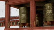 Spinning prayer wheel monastery Stock Footage