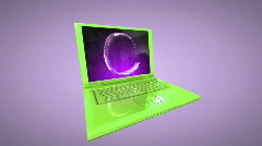 Laptop animation with internet symbol and Alpha Stock Footage