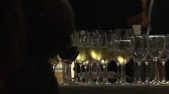 Wine glasses at party - stock footage