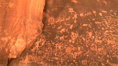 Newspaper Rock Petroglyphs in Utah - Native American Rock Art Stock Footage