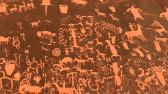 Newspaper Rock Petroglyphs in Utah - American Indian Rock Art Stock Footage