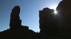 Monument Valley Rock Formations in Silhouette, Arizona Stock Footage