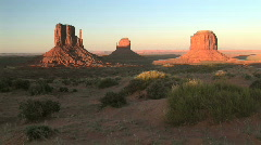The Mittens at Monument Valley Navajo Tribal Park at Sunset in Arizona Stock Footage