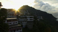Indian sunset hill station town Stock Footage
