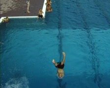 Boy Jumping from Diving Board (Slow motion) - stock footage