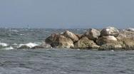Waves Against The Breakwater Stock Footage