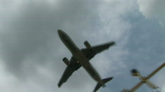 HD1080i Landing airplane overhead Stock Footage