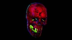 Iridescent Halloween skull floating in space Stock Footage