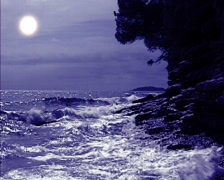 Full moon at coast of France Stock Footage
