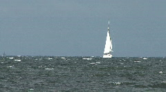 Sail Boat In Choppy Seas Stock Footage