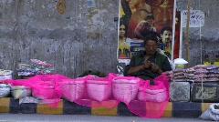 Indian roadside market (w/sound) Stock Footage