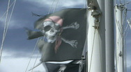 Ripped And Torn Pirate Flag Stock Footage