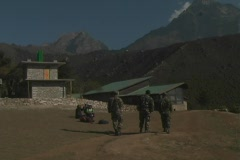 Soldiers patrol near Mt. Everest Stock Footage