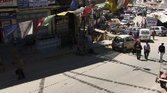 Indian street and prayer flag (w/sound) Stock Footage