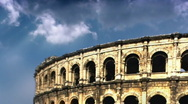 Coliseum and clouds time lapse Stock Footage