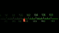 Radio receiver fm tune dial panel Stock Footage