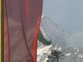 Himalayas and Buddhist Prayer Flag Stock Footage