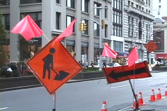 Road constraction in New York City Stock Footage