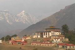 Wideshot Tengboche Monastery Stock Footage