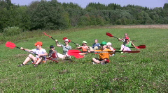 Canoe paddling training on a ground 1A  Stock Footage