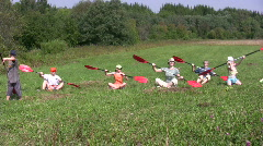 Canoe paddling training on a ground 2  Stock Footage