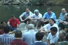 Baptism of pilgrims in the Jordan River Holy Land Israel Stock Footage