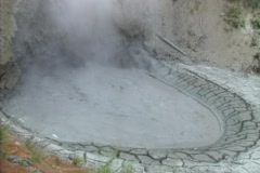 Hot mud cracking and boiling Stock Footage
