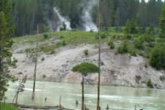 Steam and boiling river Stock Footage