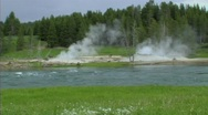 Steam by river Stock Footage