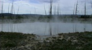 Steam from lake in yellowstone Stock Footage