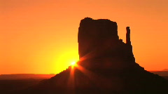 Monument Valley, dramatic orange sunrise in Arizona, time lapse  Stock Footage