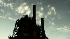 Factory Silhouette and Time-lapse Clouds Stock Footage