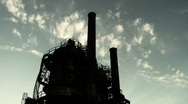 Stock Video Footage of Factory Silhouette and Time-lapse Clouds