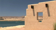 Lake Powell and Picnic Structure in Arizona Stock Footage